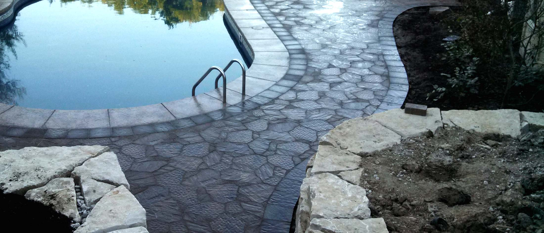 paved pool outdoor space